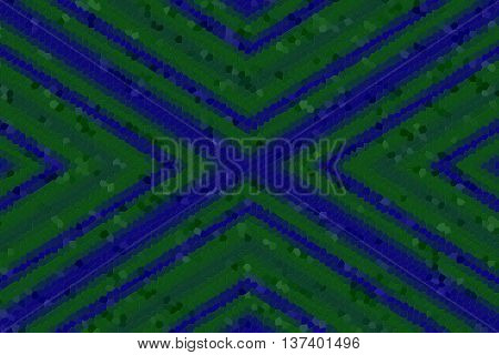 Illustration of a dark green and dark blue mosaic cross