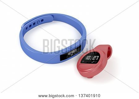 Wristband and clip-on activity trackers on white background, 3D illustration