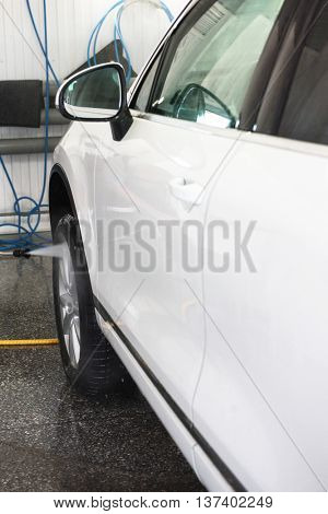 car washing with high pressure water