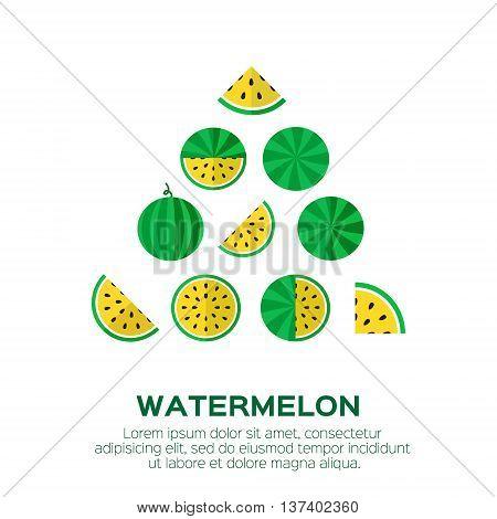 Summer set of fresh ripe watermelon. Single watermelon half a watermelon a slice of watermelon. Yellow Watermelon concept vector illustration