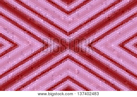 Illustration of a red and pink mosaic x-pattern
