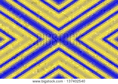 Illustration of a dark blue and yellow mosaic cross