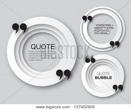Origami Circle Quote bubble. Banner. Applique Empty Citation text box template. Paper cut Quote blank. Vector design illustration.