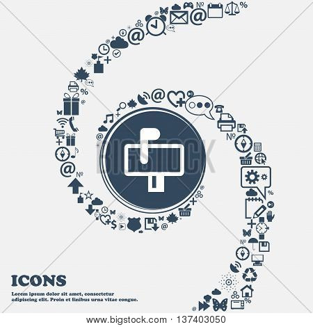 Mailbox Icon Sign In The Center. Around The Many Beautiful Symbols Twisted In A Spiral. You Can Use