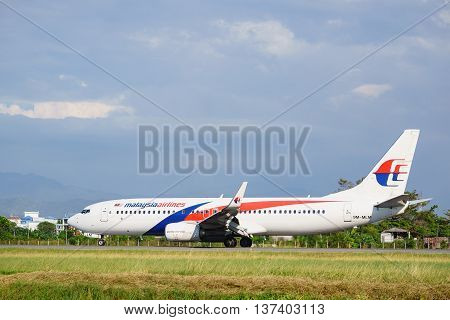 Kota Kinabalu Sabah Malaysia - Feb 22 2016 : Malaysia Airlines Boeing 737-800 taxing at Kota Kinabalu Airport. Malaysia Airlines is Malaysian own by Malaysian government and currently under business restructuring.