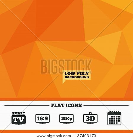 Triangular low poly orange background. Smart TV mode icon. Aspect ratio 16:9 widescreen symbol. Full hd 1080p resolution. 3D Television sign. Calendar flat icon. Vector