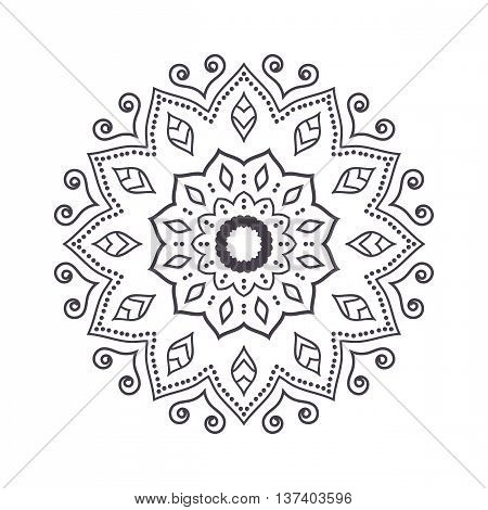 Hand drawn flower mandala for coloring book. Black and white ethnic henna pattern. Indian asian arabic islamic ottoman moroccan motif. Vector illustration.
