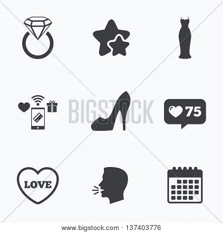 Wedding slim dress icon. Women's shoe and love heart symbols. Wedding or engagement day ring with diamond sign. Flat talking head, calendar icons. Stars, like counter icons. Vector