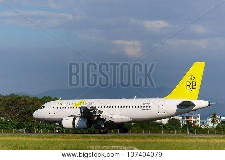 Kota Kinabalu Sabah Malaysia - Feb 22 2016 : Royal Brunei aircarft Airbus A319 taxing at Kota Kinabalu Airport. Kota Kinabalu airport is the most busiest airport in Borneo.