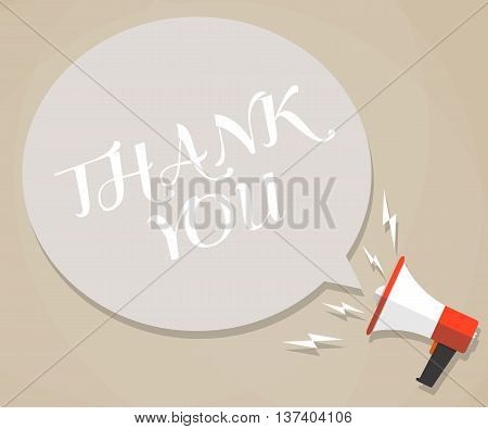 Cartoon megaphone with white bubble and words thank you. social media marketing concept. vector illustration in flat design on brown background