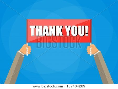 Human hands holding red plate with words thank you, vector illustration in flat style on blue background