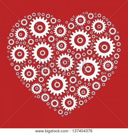 Heart shape mosaic of cog wheels. Looks like clockwork heart or love machine. White illustration on red background.