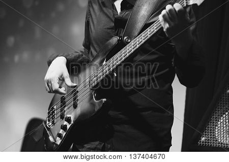 Rock And Roll Music, Bass Guitar Player Closeup