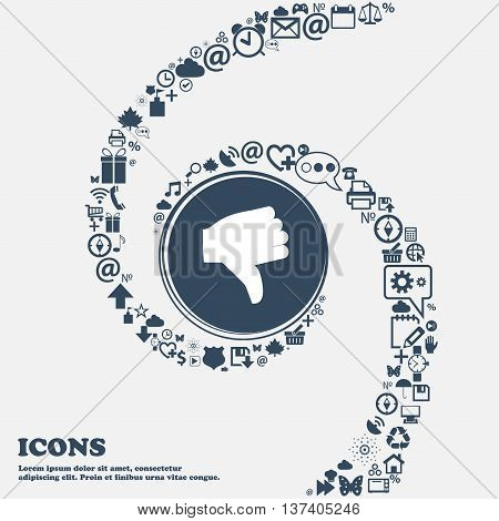 Dislike, Thumb Down Icon Sign In The Center. Around The Many Beautiful Symbols Twisted In A Spiral.