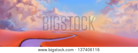 Creative Illustration and Innovative Art: Red Land Banner. Realistic Fantastic Cartoon Style Artwork Scene, Wallpaper, Story Background, Card Design