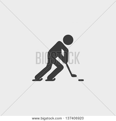 Hockey player icon in a flat design in black color. Vector illustration eps10