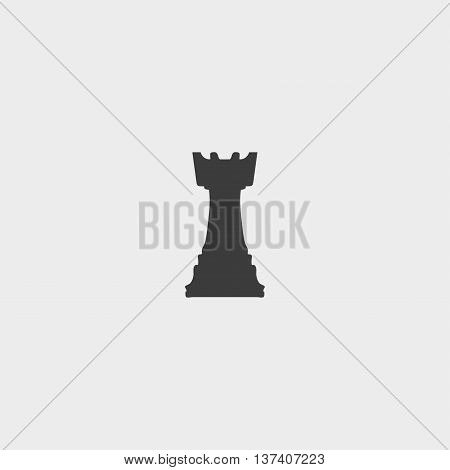 Chess rook icon in a flat design in black color. Vector illustration eps10