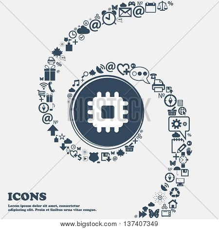 Central Processing Unit Icon Sign In The Center. Around The Many Beautiful Symbols Twisted In A Spir