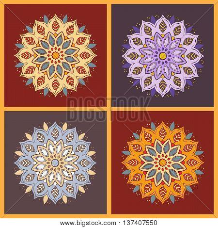 Set of four colorful oriental flower mandala. Stylish geometric pattern. Ethnic vintage pattern. Indian, asian, arabic, islamic, ottoman motif. Vector illustration.