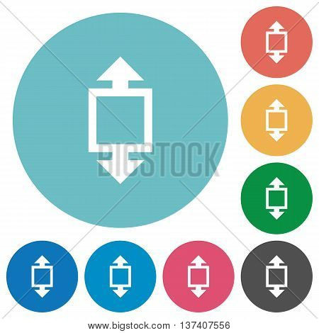 Flat height tool icon set on round color background.