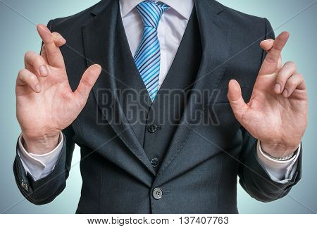 Businessman Has Crossed Fingers Behind His Back. Good Luck Or Di