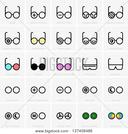 Set of glasses and contact lenses icons