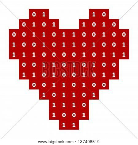 Virtual love, red heart with white figures
