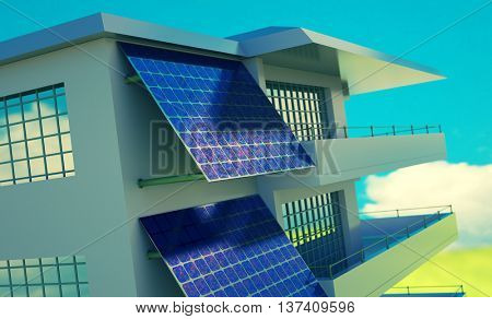 Solar cell  battery on house wall. Toned image, 3D illustration