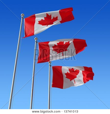 Three flags of Canada against blue sky. 3d illustration.