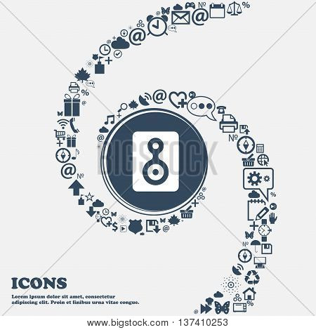 Video Tape Icon Sign In The Center. Around The Many Beautiful Symbols Twisted In A Spiral. You Can U