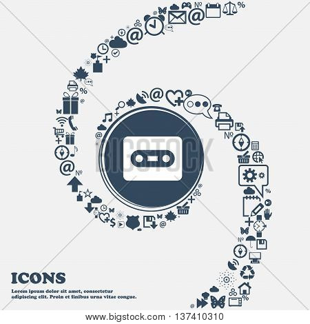 Cassette Icon Sign In The Center. Around The Many Beautiful Symbols Twisted In A Spiral. You Can Use