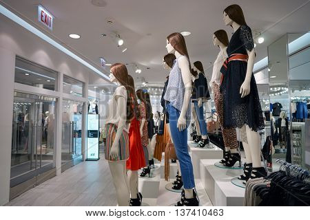 CHICAGO, IL - MARCH 24, 2016: inside of H&M store. H & M Hennes & Mauritz AB is a Swedish multinational retail-clothing company, known for its fast-fashion clothing for men, women, teenagers, children