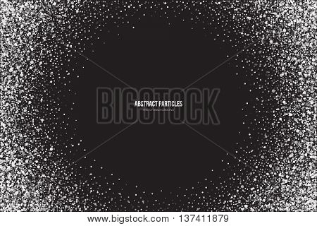 Abstract bright white shimmer glowing round particles vector background. Snowfall effect. Falling scatter shine tinsel light explosion. Celebration holidays and party illustration