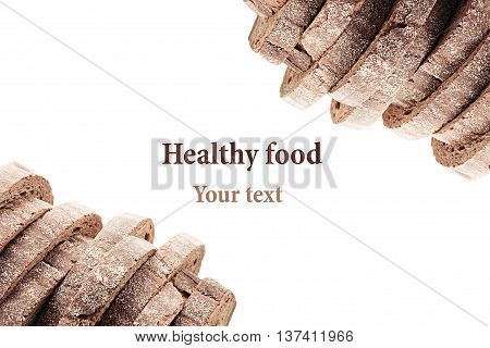 Pile of slices of black rye bread with a crispy crust on a white background. Decorative ending border. Isolated. Concept art. Food background.