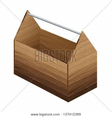 Tool box on white background. Wooden tool box.