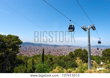 Cableway to Montjuic and panoramic view of the Barcelona city. Catalonia (Catalunya) Spain