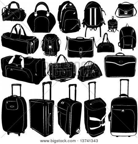 travel suitcase and bag vector