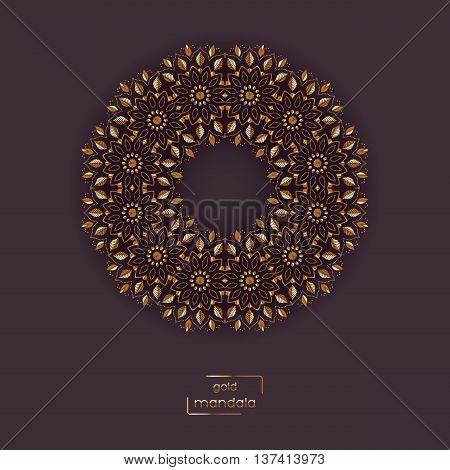 Ornamental card with gold flower oriental mandala on vinous color background. Ethnic vintage pattern. Indian, asian, arabic, islamic, ottoman motif. Vector illustration.