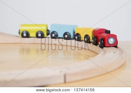 Wooden Train Set Going Around A Bend