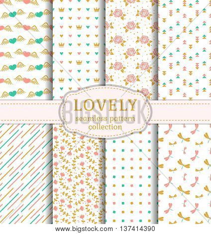 Set of pretty patterns with hearts flowers and abstract ornaments for love romantic and summer themes. Collection of seamless backgrounds in white pink blue and gold colors. Vector illustration.