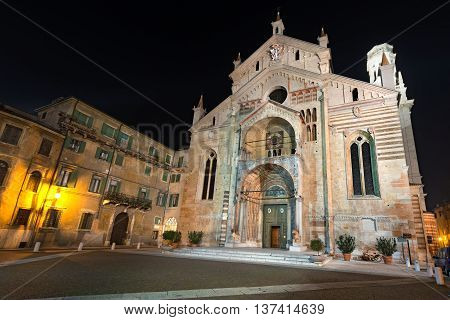 Facade of the Cathedral of Verona at night (1187) - Santa Maria Matricolare - (UNESCO world heritage site) Veneto Italy