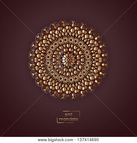 Ornamental gold flower oriental mandala on vinous color background. Ethnic vintage pattern. Indian asian arabic islamic ottoman motif. Vector illustration.
