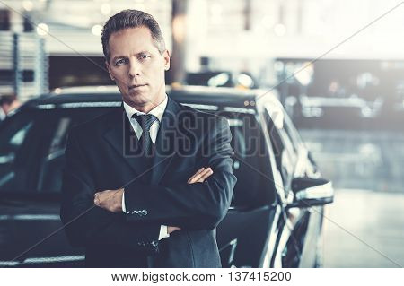 Mature grey hair man in formalwear standing in front of car and looking at camera