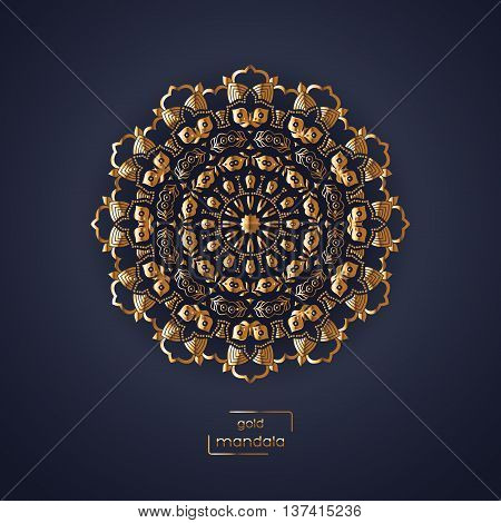 Ornamental gold flower oriental mandala on dark blue color background. Ethnic vintage pattern. Indian asian arabic islamic ottoman motif. Vector illustration.