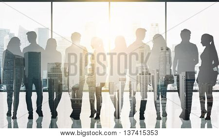 business, education, travel and people concept - students silhouettes with bags over singapore city skyscrapers view and sun light with double exposure effect background