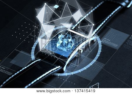 3d technology, science, object and media concept - close up of black smart watch with polygonal shape projection over screen