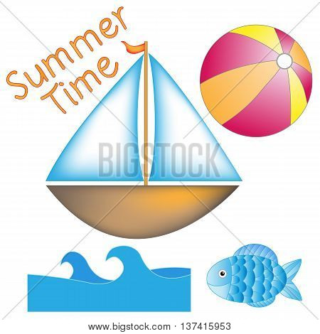Boat ball waves and fish isolated over white background