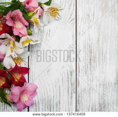 Alstroemeria Flowers On A Table