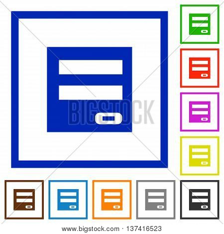 Set of color square framed Login panel flat icons