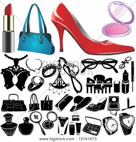 set of women accessories vector